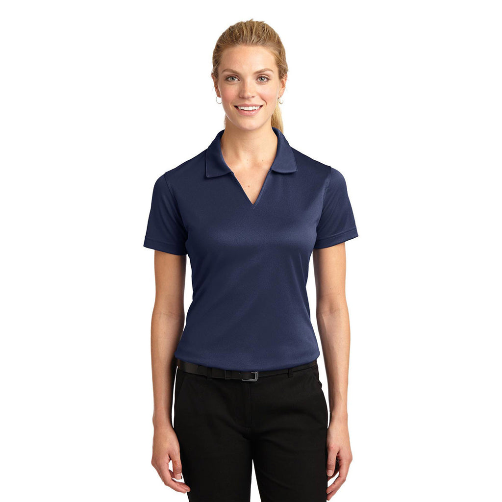 Sport-Tek Women's Navy Dri-Mesh V-Neck Polo