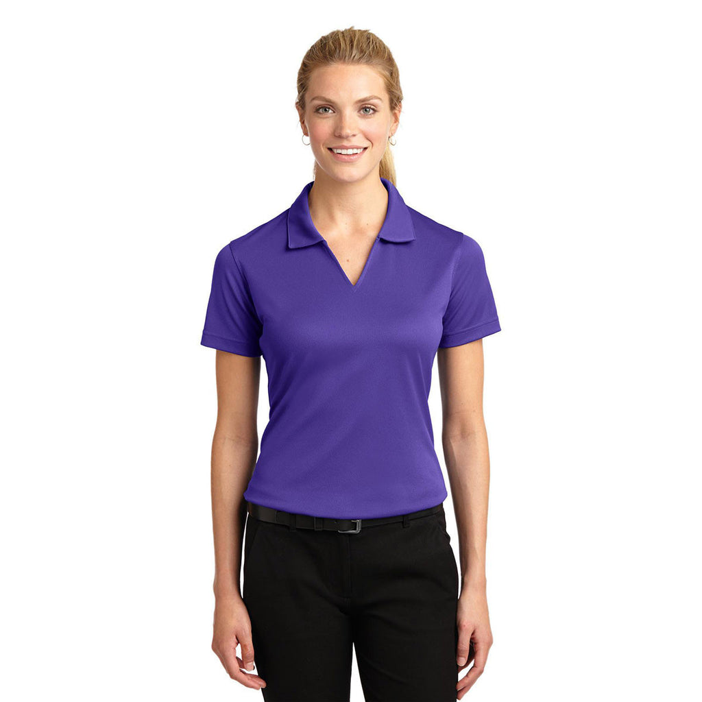 Sport-Tek Women's Purple Dri-Mesh V-Neck Polo