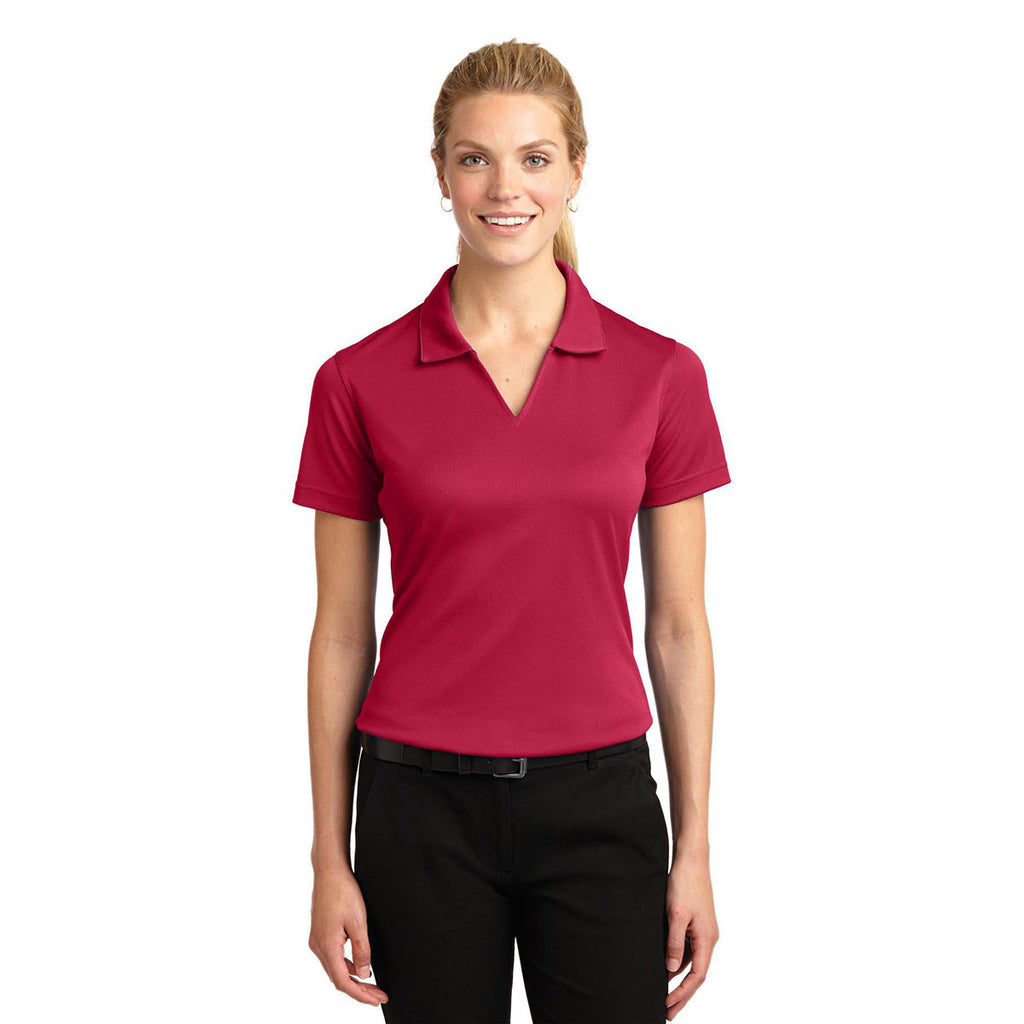 Sport-Tek Women's Red Dri-Mesh V-Neck Polo
