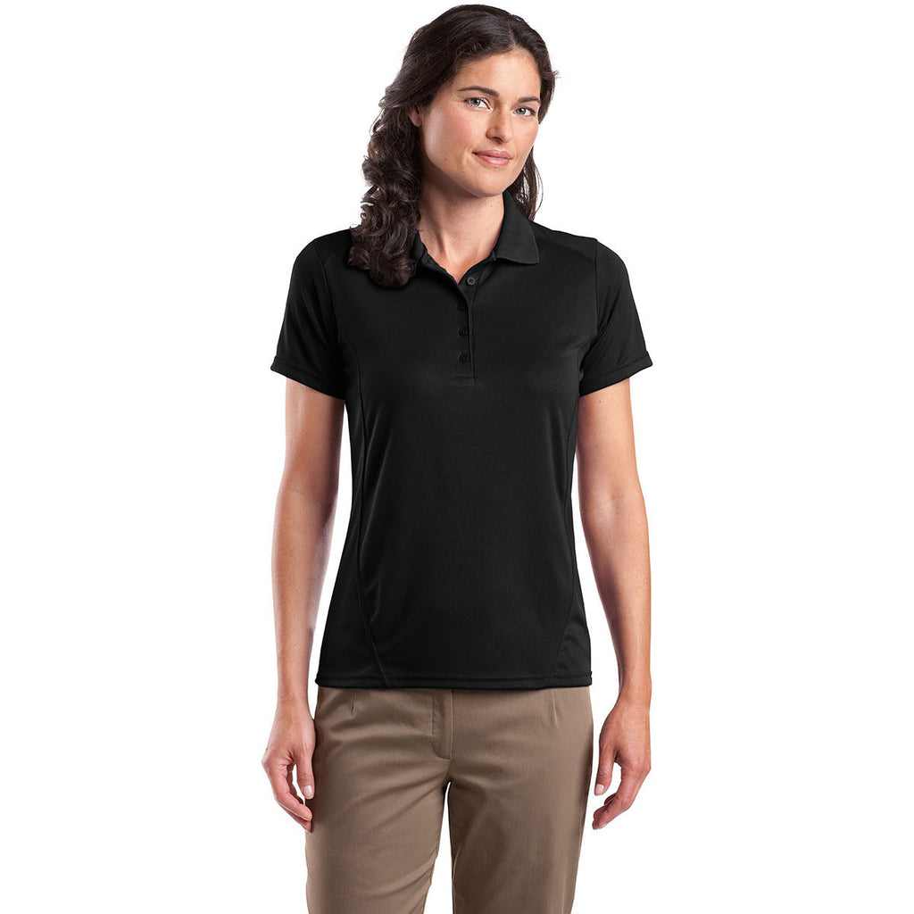 Sport-Tek Women's Black Dry Zone Raglan Accent Polo