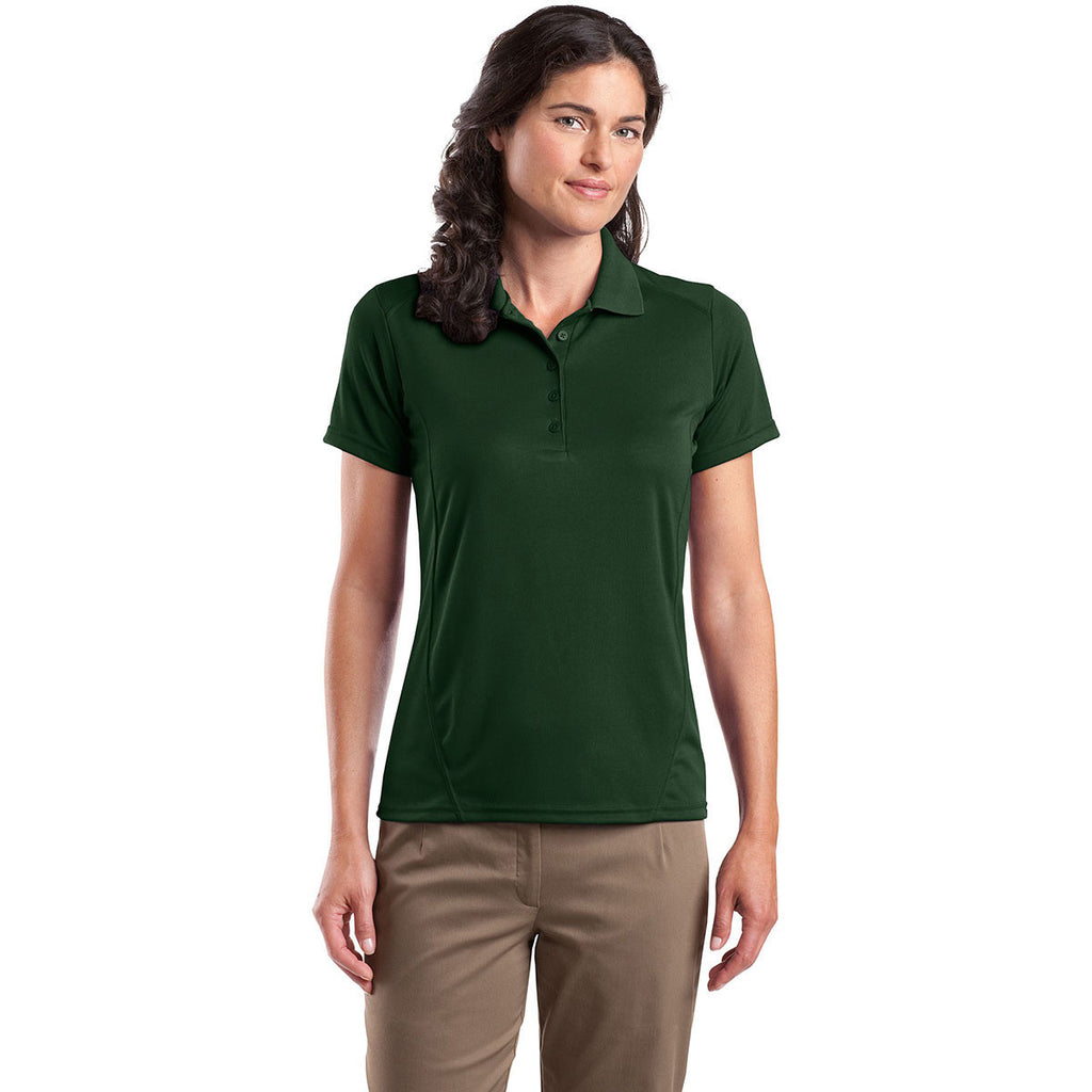 Sport-Tek Women's Forest Green Dry Zone Raglan Accent Polo