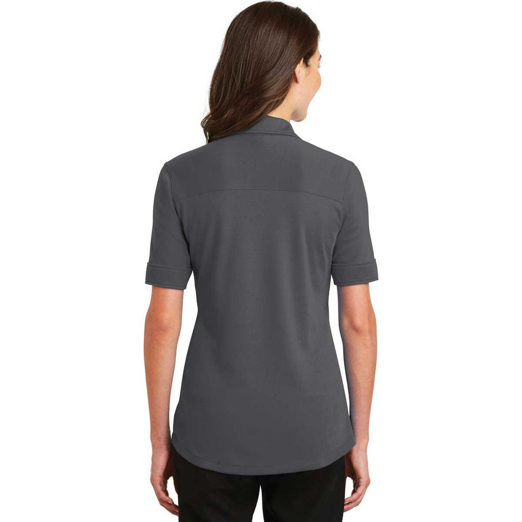 Port Authority Women's Sterling Grey Silk Touch Interlock Performance Polo
