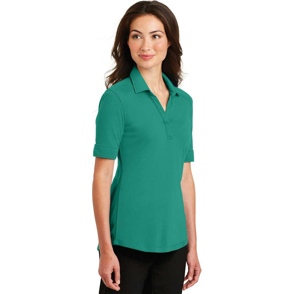 Port Authority Women's Verdant Green Silk Touch Interlock Performance Polo