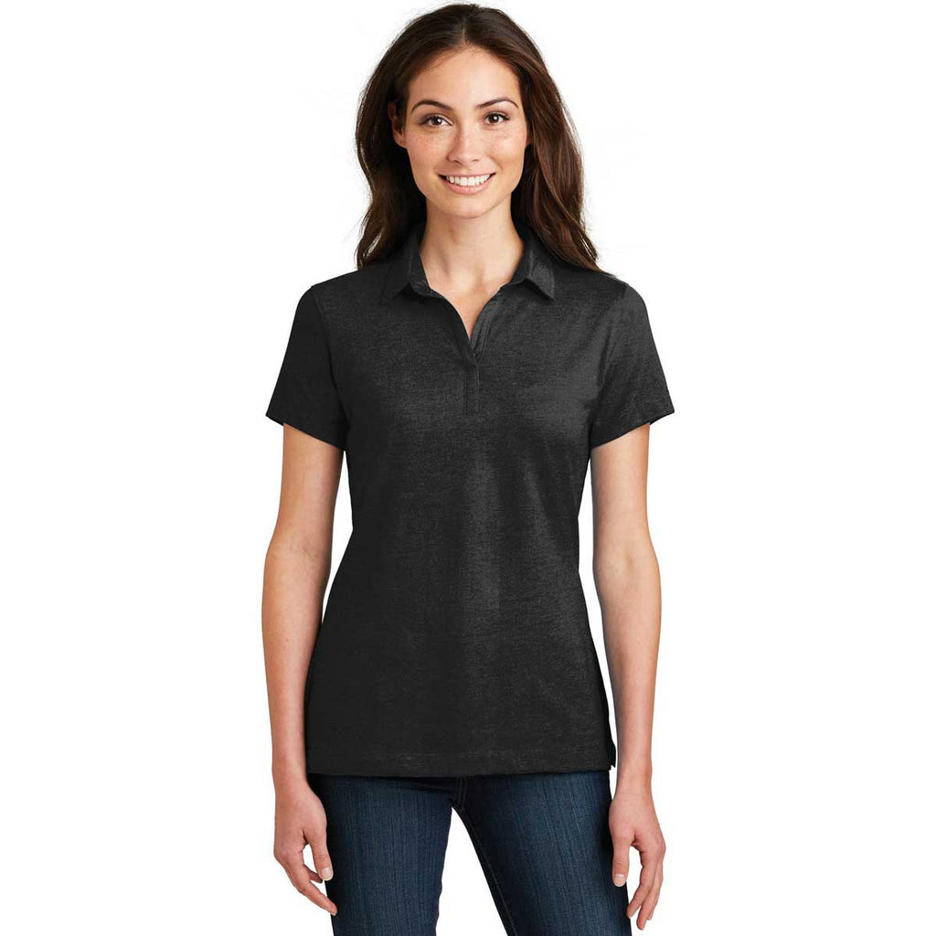 Port Authority Women's Black Meridian Cotton Blend Polo