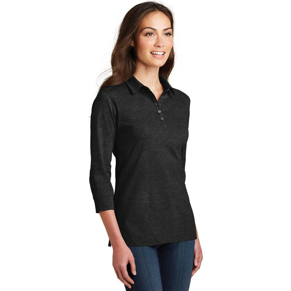 Port Authority Women's Black 3/4-Sleeve Meridian Cotton Blend Polo