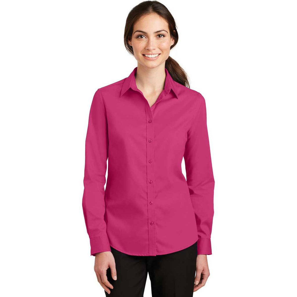 Port Authority Women's Pink Azalea SuperPro Twill Shirt