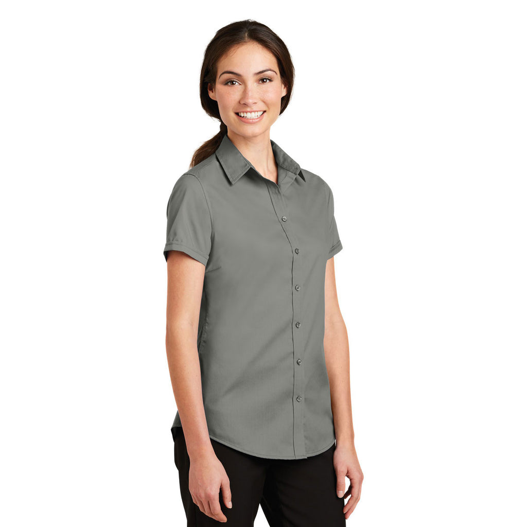 Port Authority Women's Monument Grey Short Sleeve SuperPro Twill Shirt