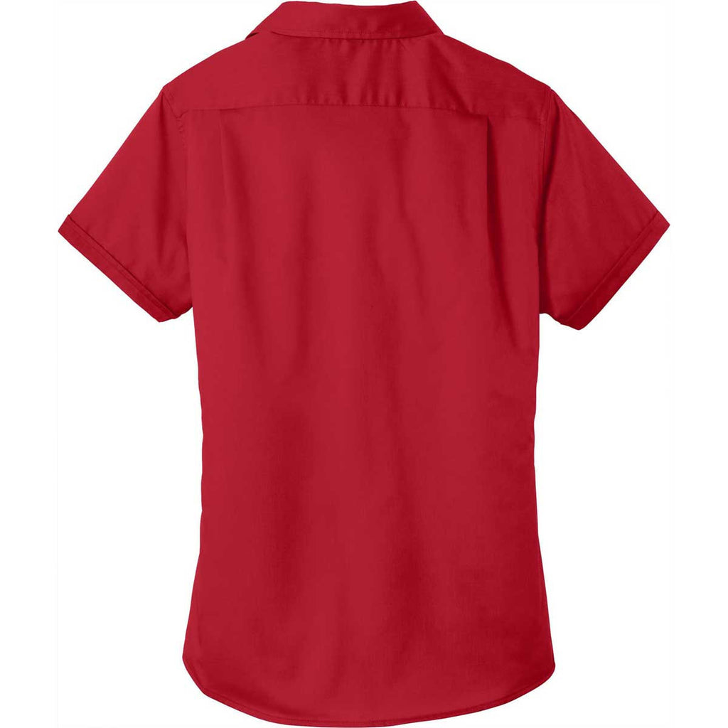 Port Authority Women's Rich Red Short Sleeve SuperPro Twill Shirt