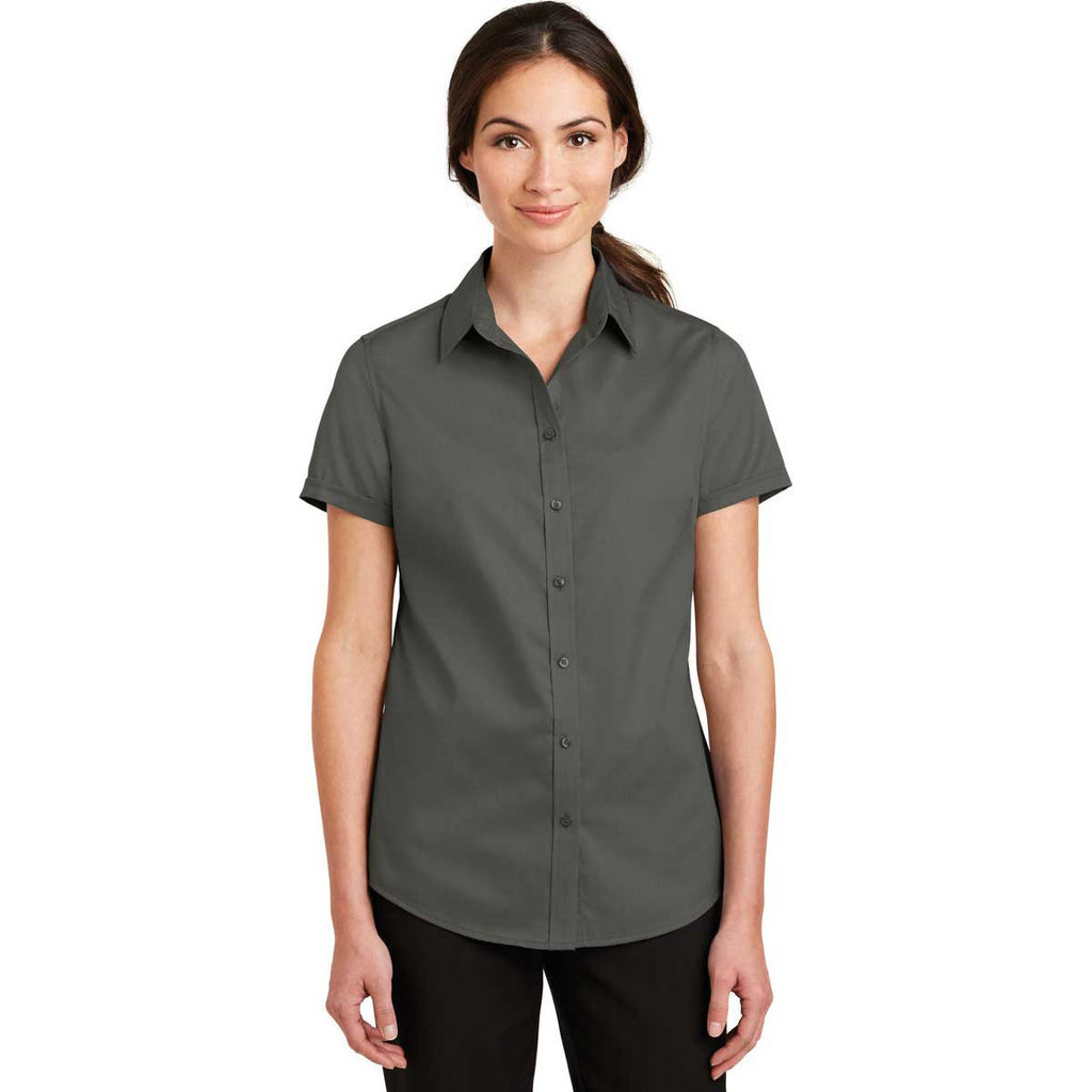 Port Authority Women's Sterling Grey Short Sleeve SuperPro Twill Shirt