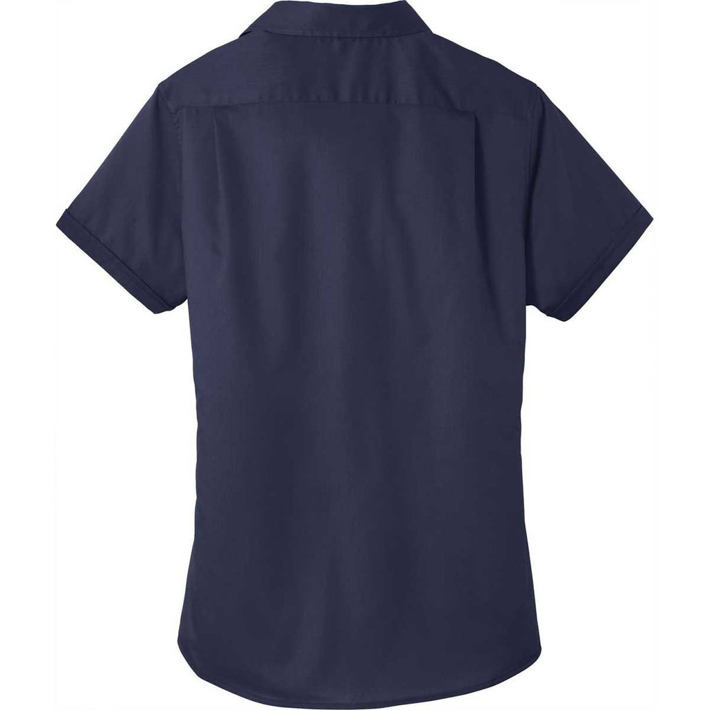 Port Authority Women's True Navy Short Sleeve SuperPro Twill Shirt