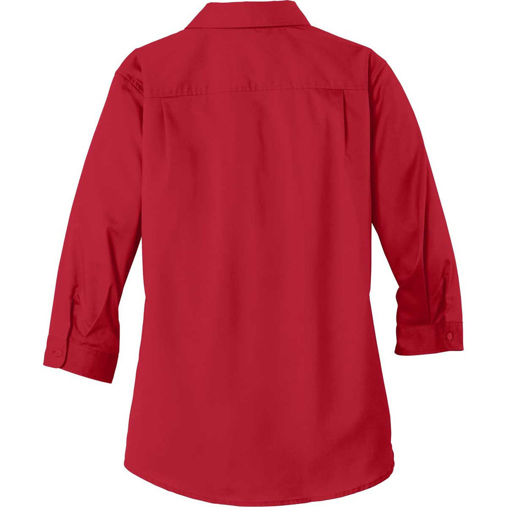 Port Authority Women's Rich Red 3/4-Sleeve SuperPro Twill Shirt