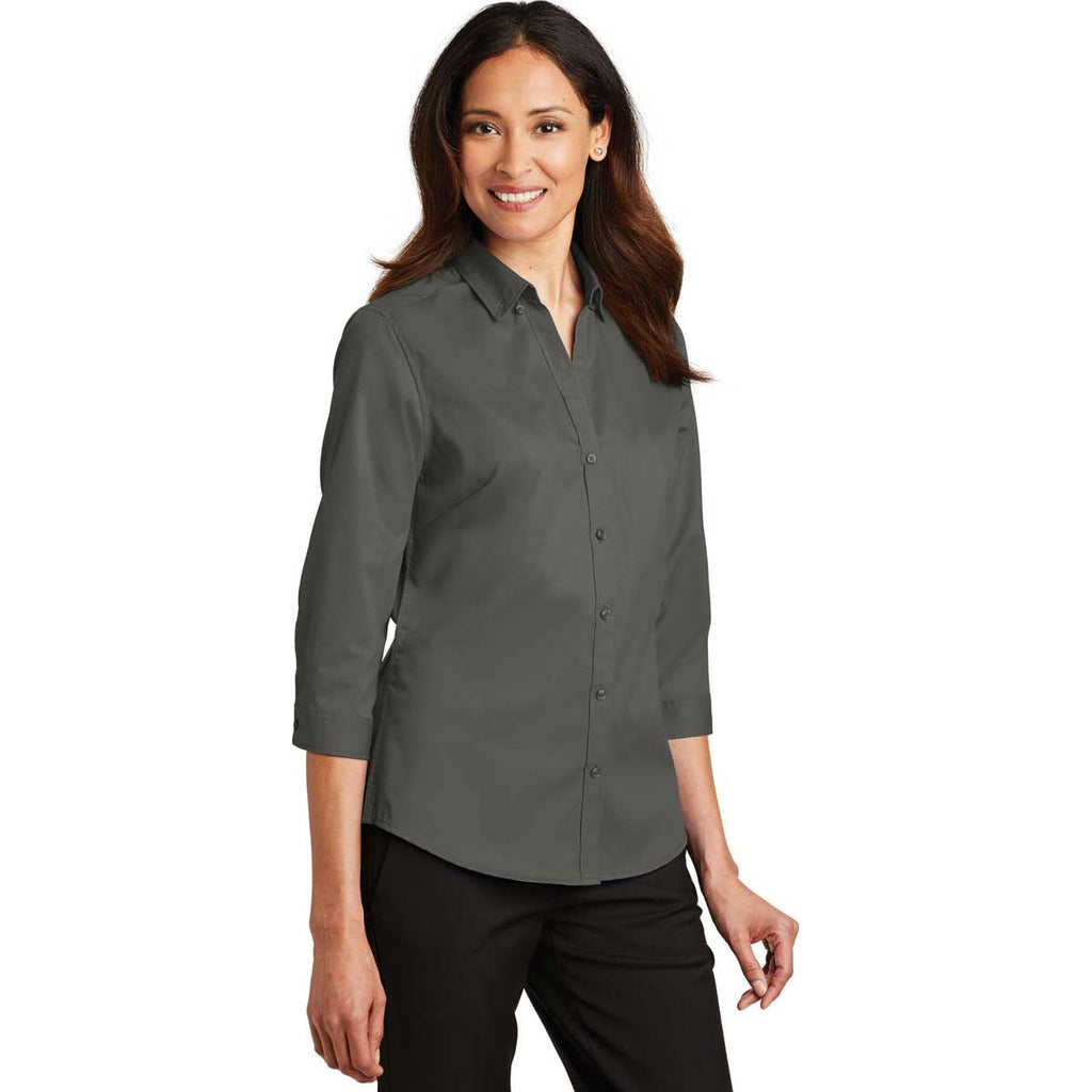 Port Authority Women's Sterling Grey 3/4-Sleeve SuperPro Twill Shirt