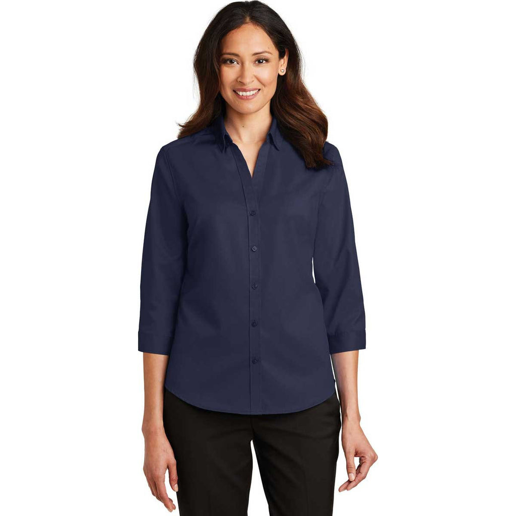 Port Authority Women's True Navy 3/4-Sleeve SuperPro Twill Shirt