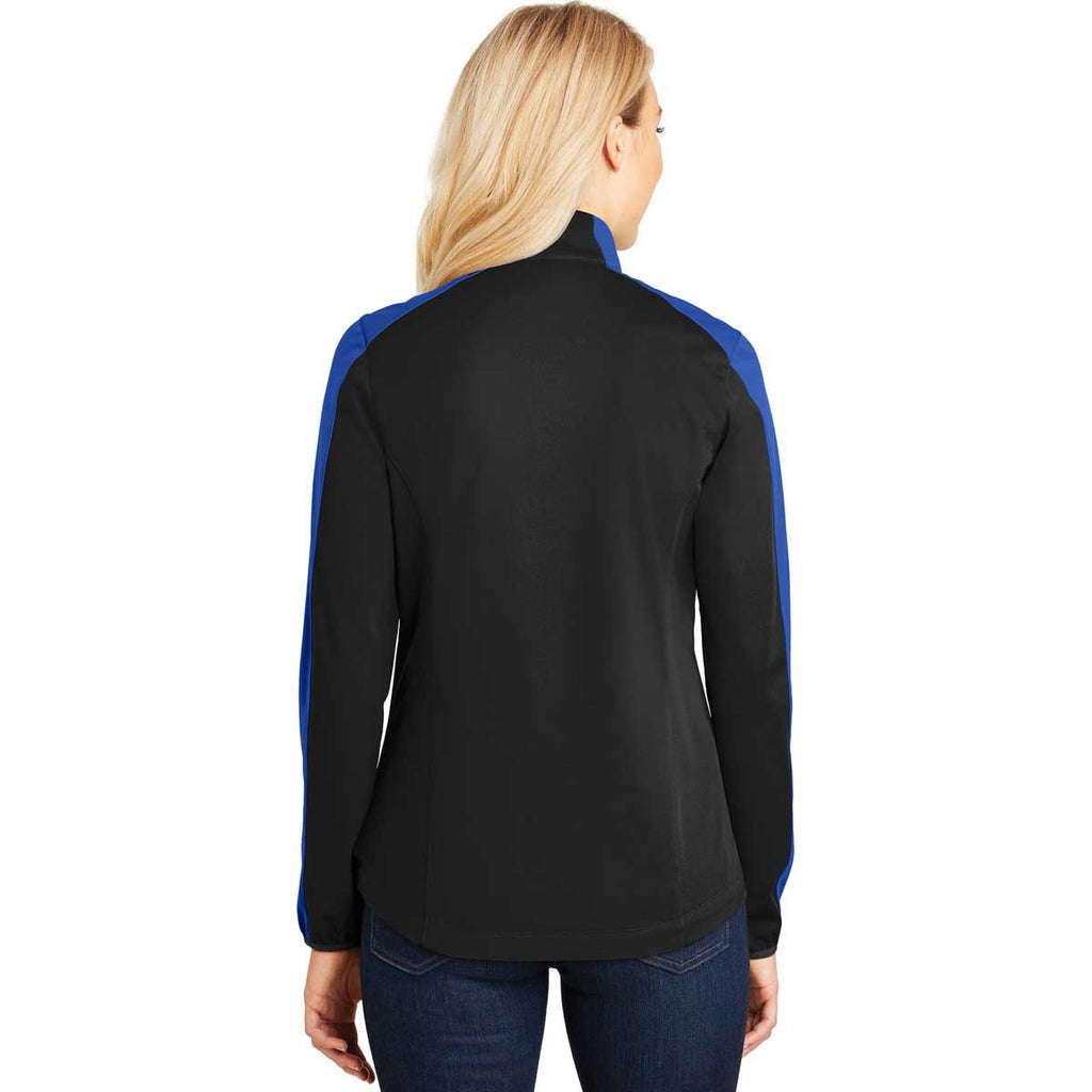 Port Authority Women's Deep Black/True Royal Active Colorblock Soft Shell Jacket