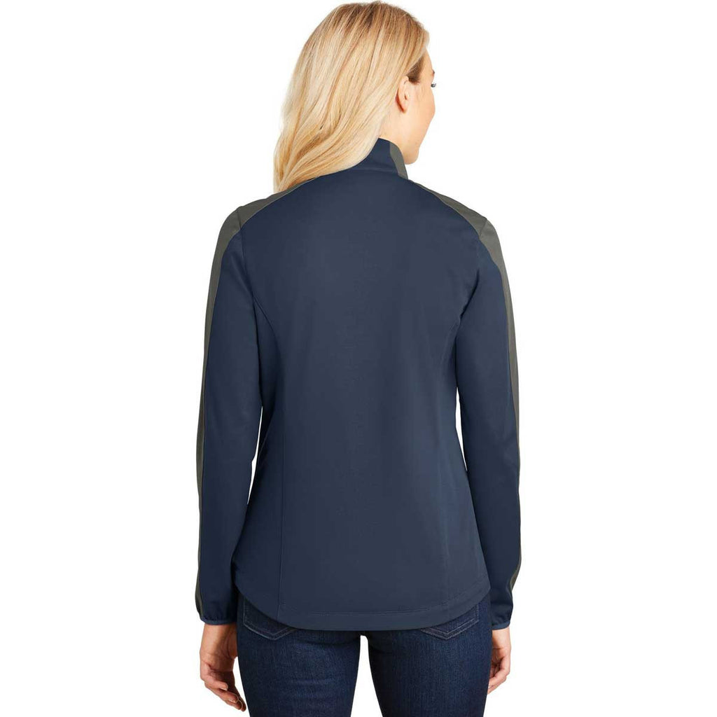 Port Authority Women's Dress Blue Navy/Grey Steel Active Colorblock Soft Shell Jacket