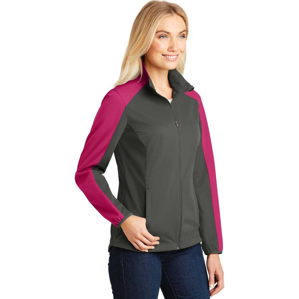 Port Authority Women's Grey Steel/Pink Azalea Active Colorblock Soft Shell Jacket