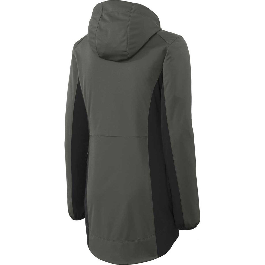 Port Authority Women's Grey Steel/Deep Black Active Hooded Soft Shell Jacket