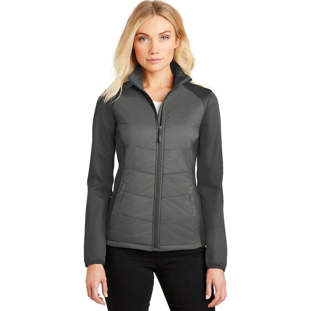 Port Authority Women's Smoke Grey/Grey Steel Hybrid Soft Shell Jacket