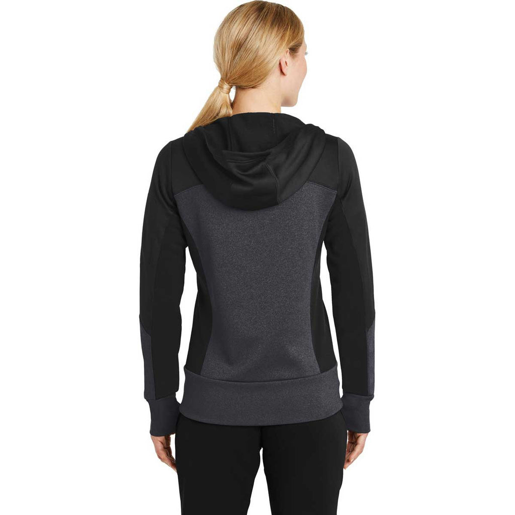 Sport-Tek Women's Black/Graphite Heather/Black Tech Fleece Colorblock Full-Zip Hooded Jacket