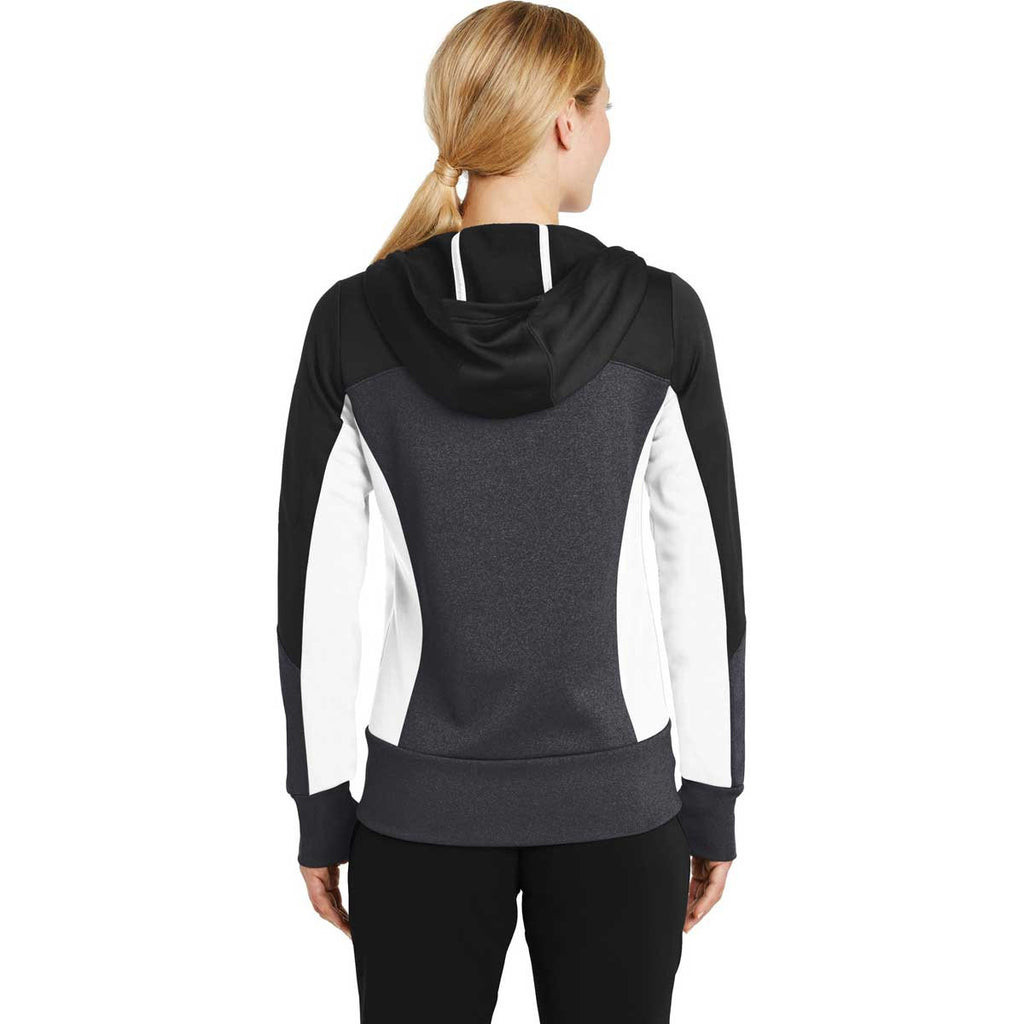Sport-Tek Women's Black/Graphite Heather/White Tech Fleece Colorblock Full-Zip Hooded Jacket