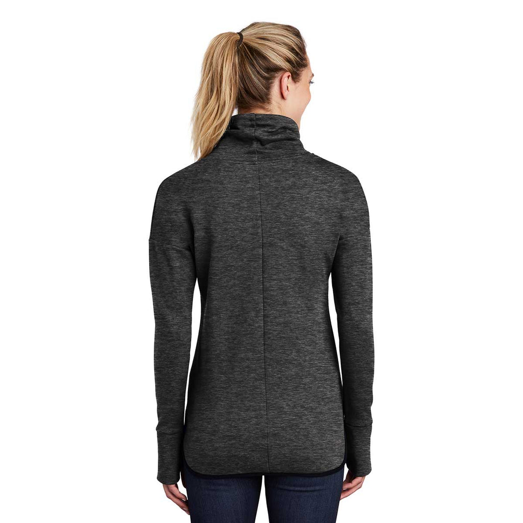 Sport-Tek Women's Black Heather Triumph Cowl Neck Pullover
