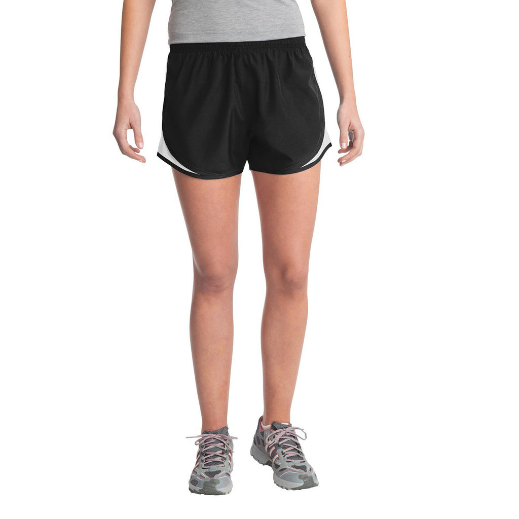 Sport-Tek Women's Black/White/Black Cadence Short