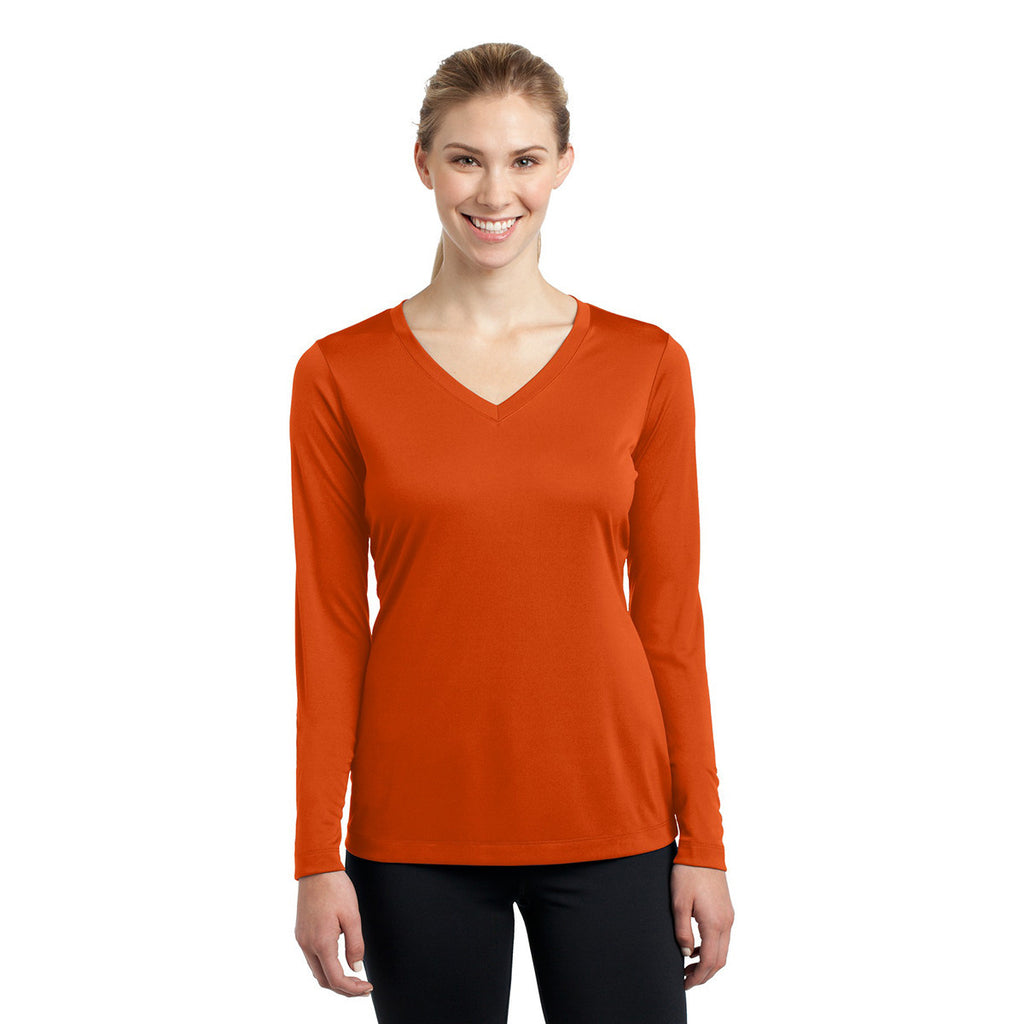 Sport-Tek Women's Deep Orange Long Sleeve PosiCharge Competitor V-Neck Tee
