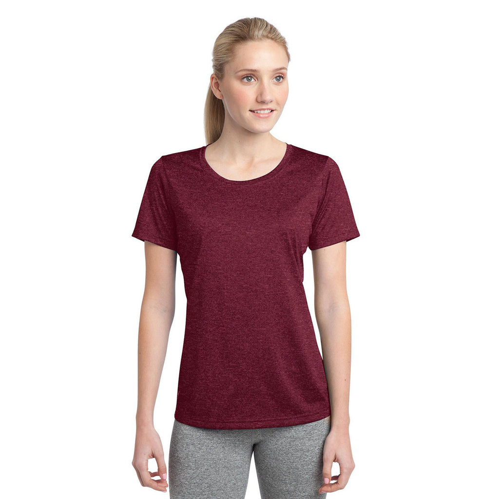 Sport-Tek Women's Cardinal Heather Contender Scoop Neck Tee