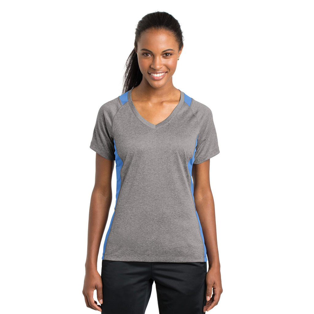 Sport-Tek Women's Vintage Heather/Carolina Blue Heather Colorblock Contender V-Neck Tee