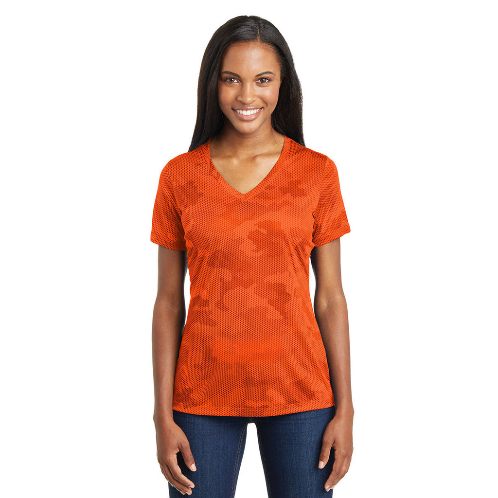 Sport-Tek Women's Neon Orange CamoHex V-Neck Tee