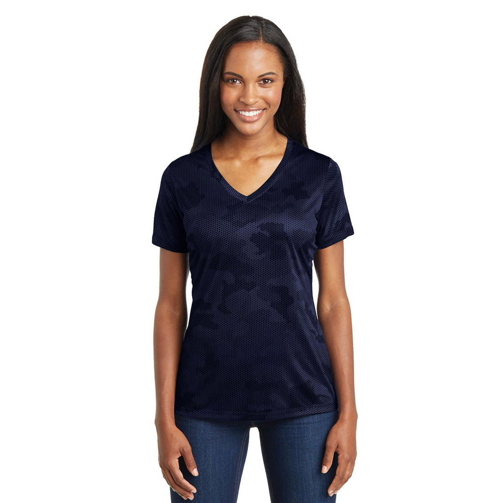Sport-Tek Women's True Navy CamoHex V-Neck Tee