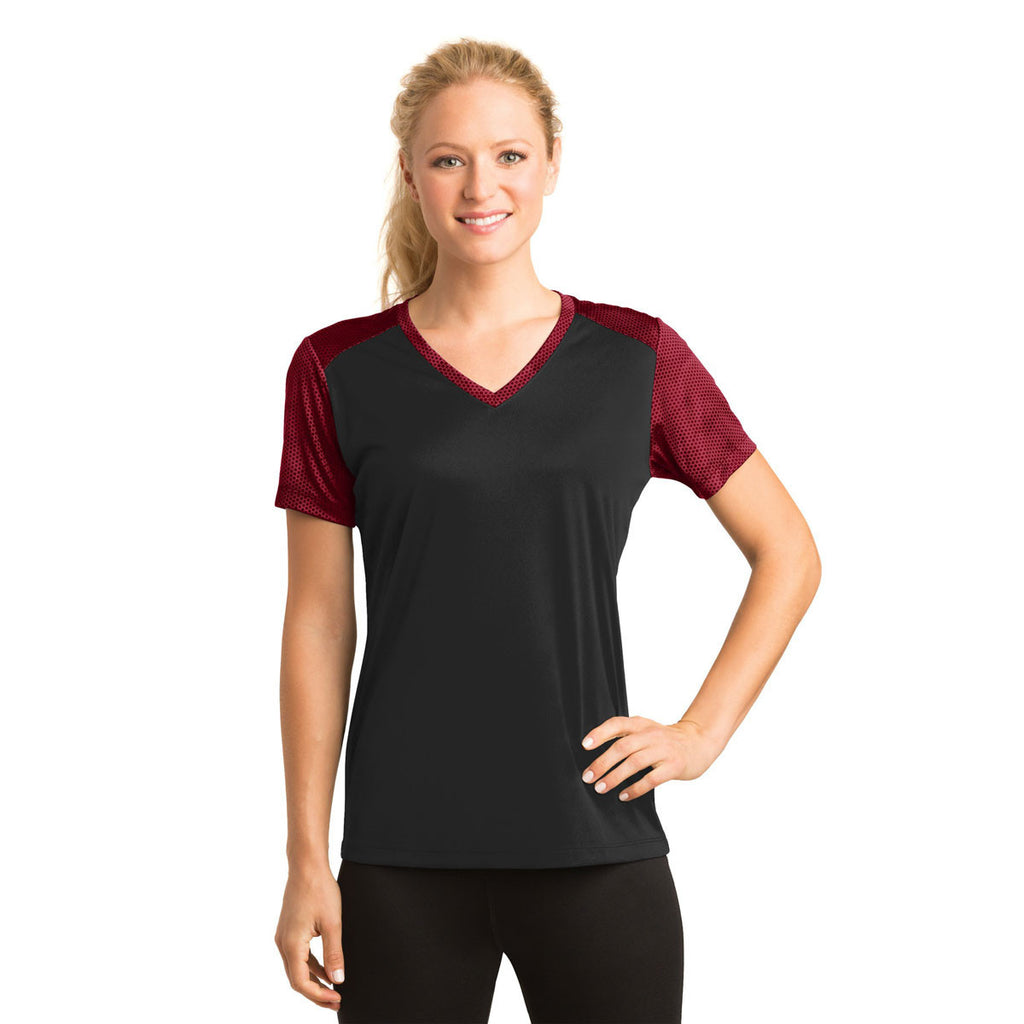 Sport-Tek Women's Black/Deep Red CamoHex Colorblock V-Neck Tee