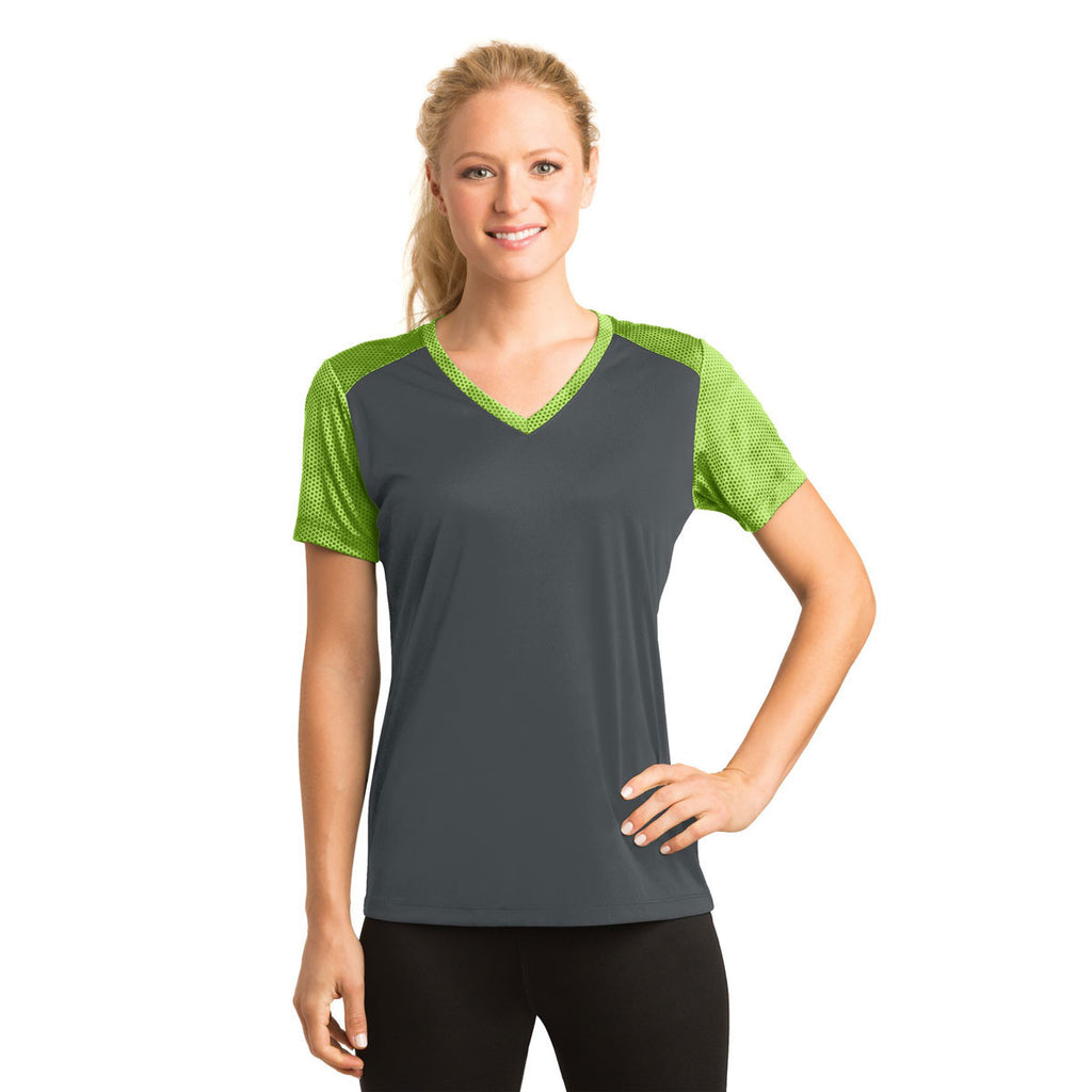 Sport-Tek Women's Iron Grey/Lime Shock CamoHex Colorblock V-Neck Tee