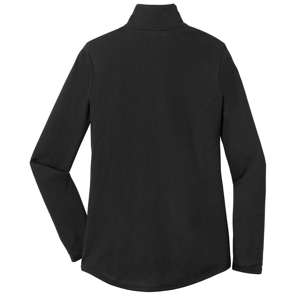 Sport-Tek Women's Black Triad Solid PosiCharge Tri-Blend Wicking 1/4-Zip Pullover