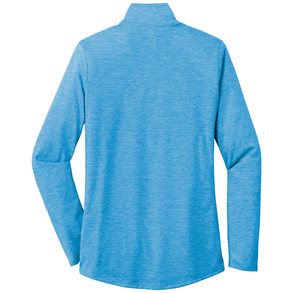 Sport-Tek Women's Pond Blue Heather PosiCharge Tri-Blend Wicking 1/4-Zip Pullover
