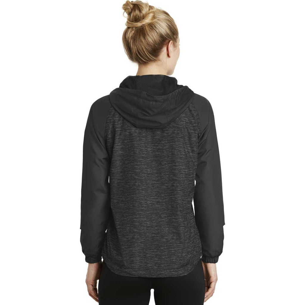 Sport-Tek Women's Black Heather/Black Heather Colorblock Raglan Hooded Wind Jacket