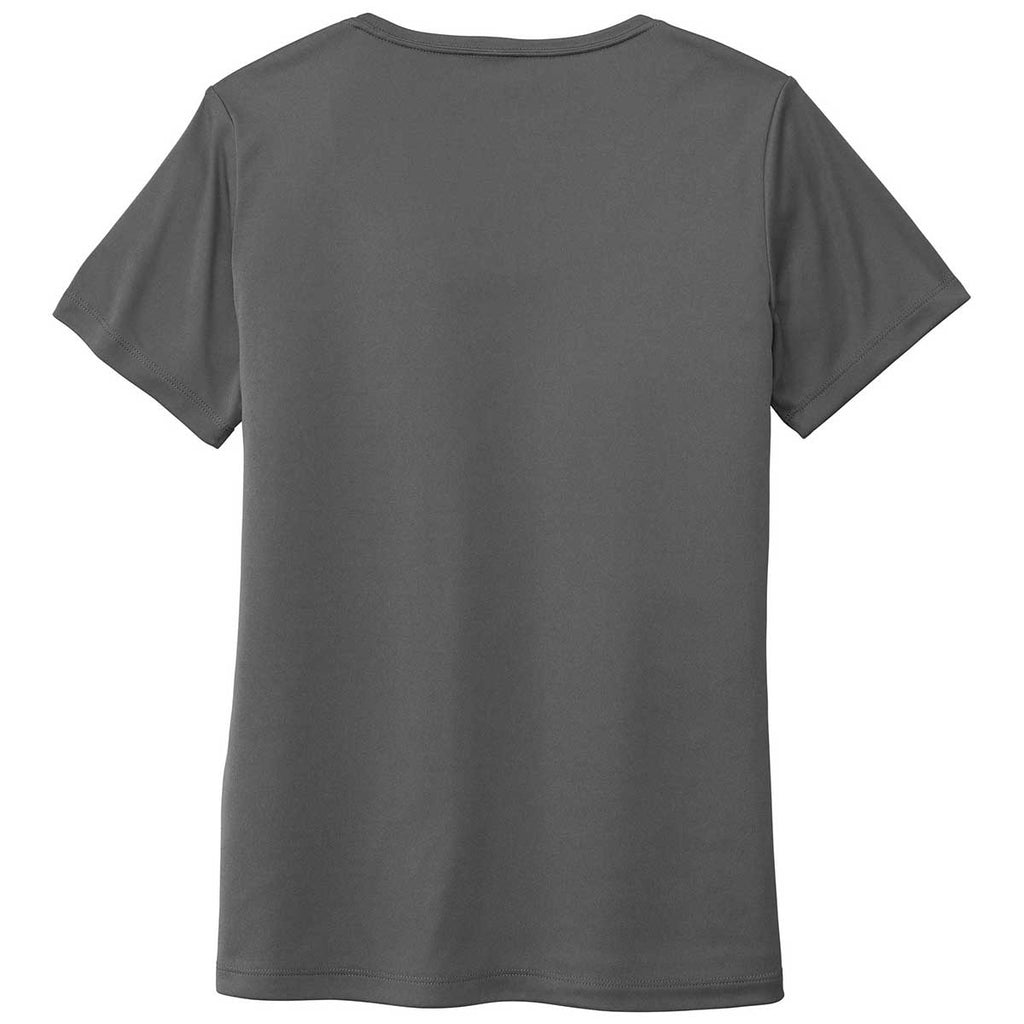 Sport-Tek Women's Dark Smoke Grey Posi-UV Pro Scoop Neck Tee