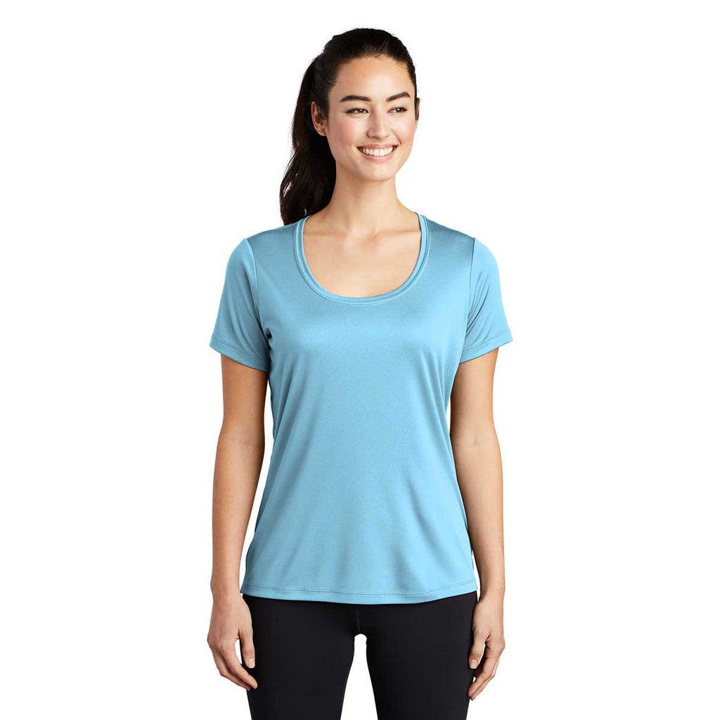 Sport-Tek Women's Light Blue Posi-UV Pro Scoop Neck Tee