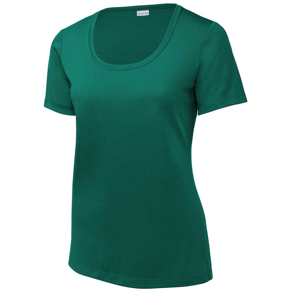 Sport-Tek Women's Marine Green Posi-UV Pro Scoop Neck Tee