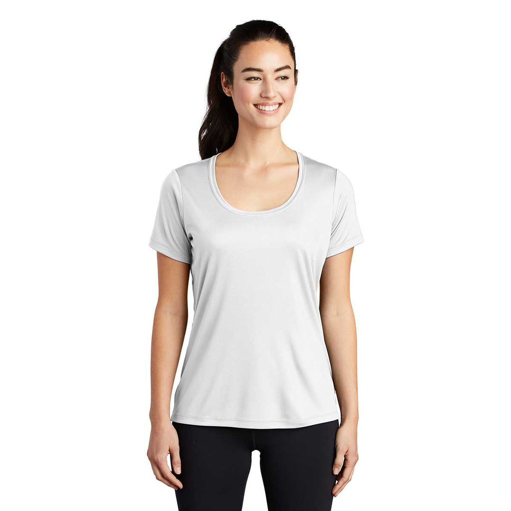Sport-Tek Women's White Posi-UV Pro Scoop Neck Tee