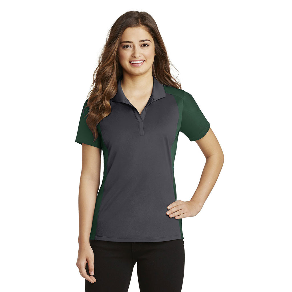 Sport-Tek Women's Iron Grey/Forest Green Colorblock Micropique Sport-Wick Polo