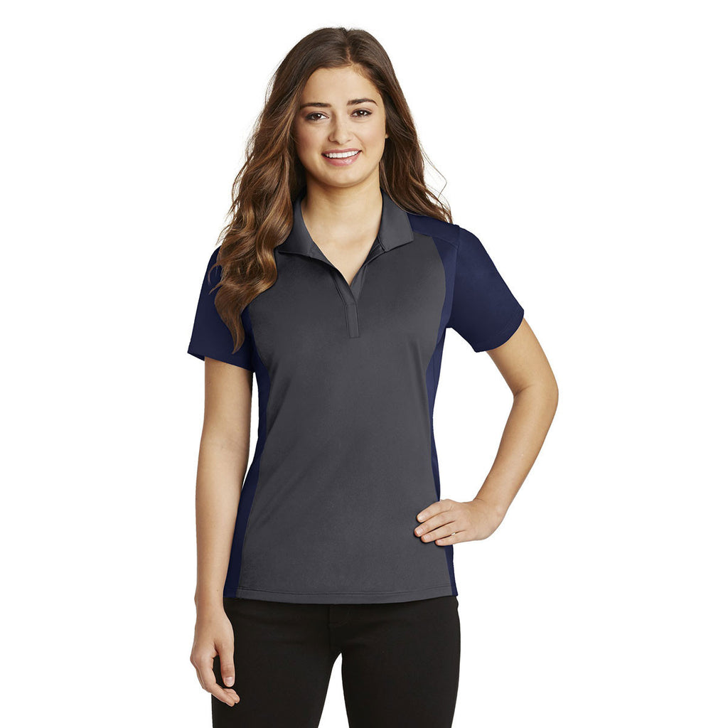 Sport-Tek Women's Iron Grey/True Navy Colorblock Micropique Sport-Wick Polo