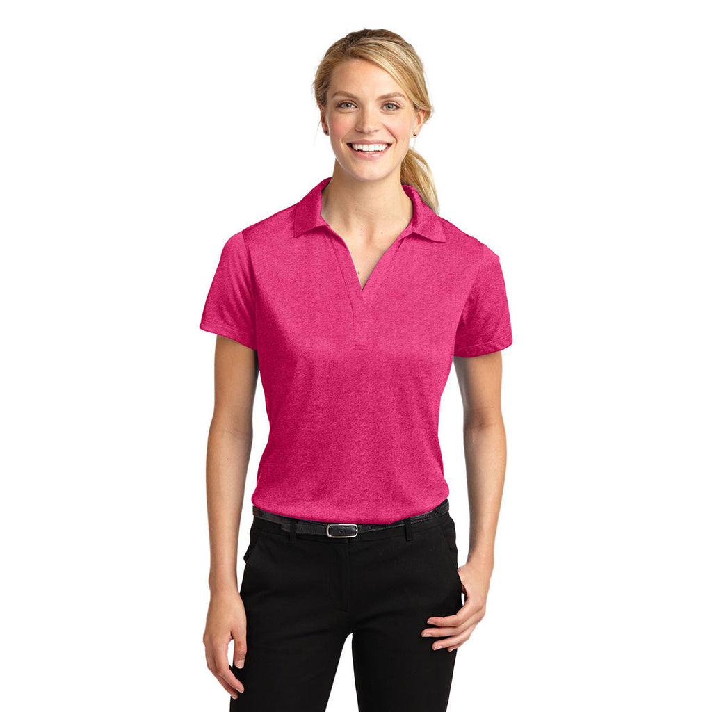 Sport-Tek Women's Pink Raspberry Heather Contender Polo