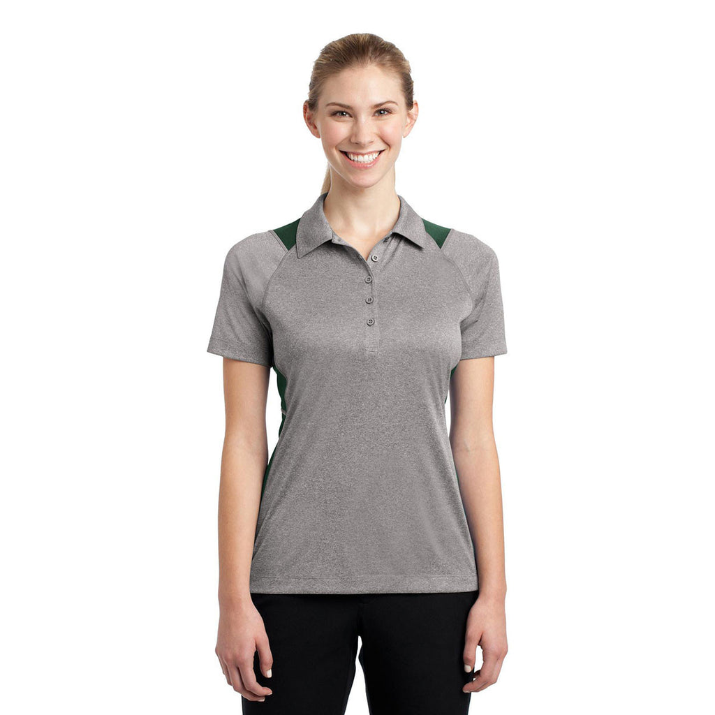 Sport-Tek Women's Vintage Heather/Forest Green Heather Colorblock Contender Polo