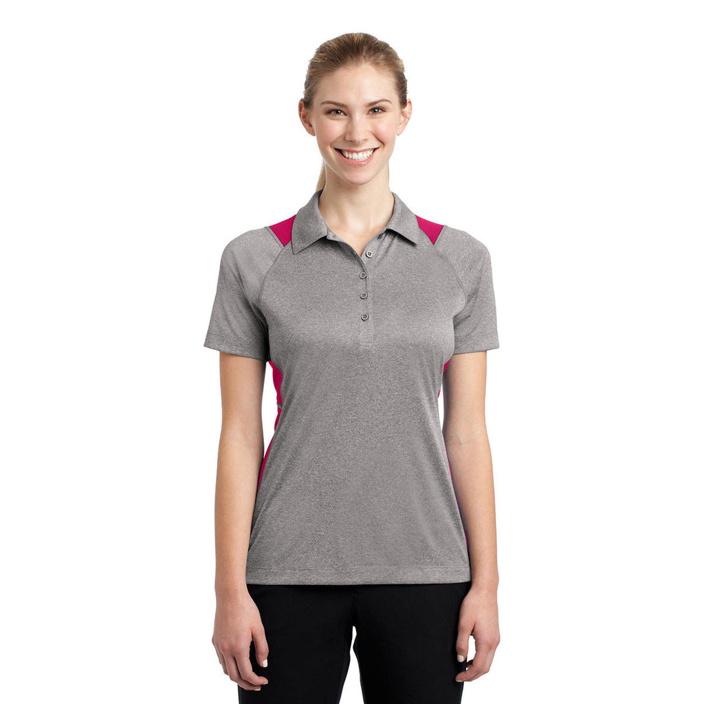 Sport-Tek Women's Vintage Heather/Pink Raspberry Heather Colorblock Contender Polo