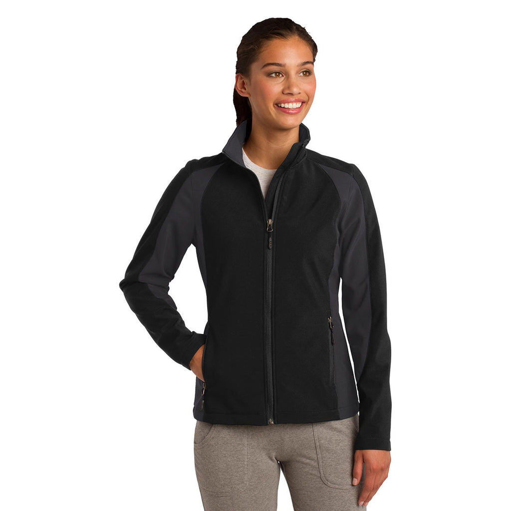 Sport-Tek Women's Black/Iron Grey Colorblock Soft Shell Jacket
