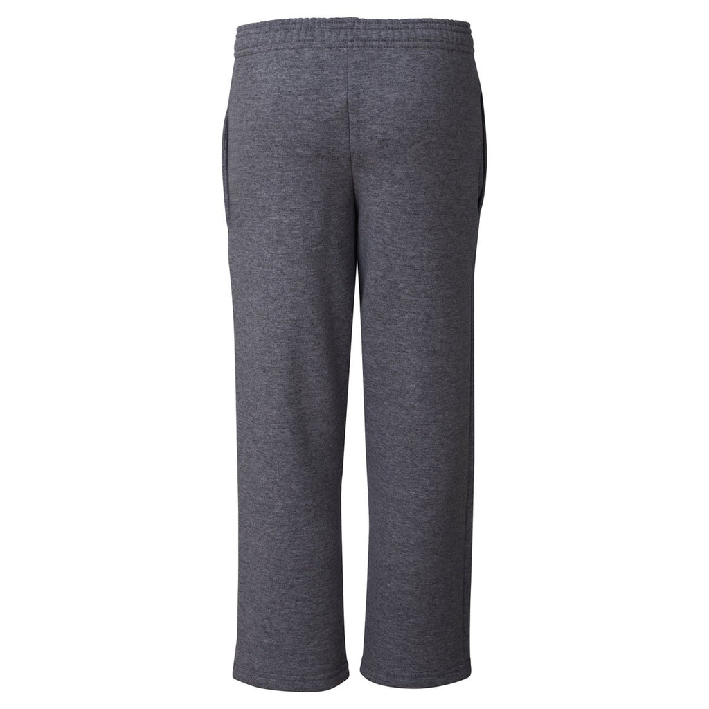 Champion Men's Charcoal Heather Double Dry ECO Fleece Open Bottom Pant with Pockets