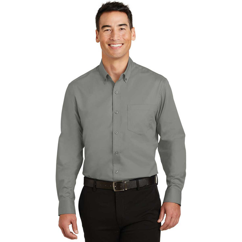 Port Authority Men's Monument Grey SuperPro Twill Shirt