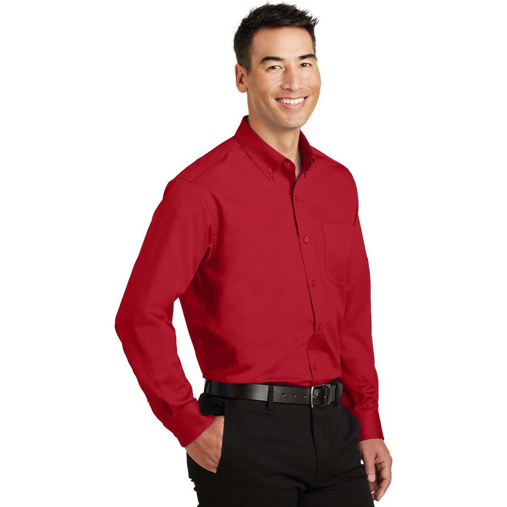 Port Authority Men's Rich Red SuperPro Twill Shirt