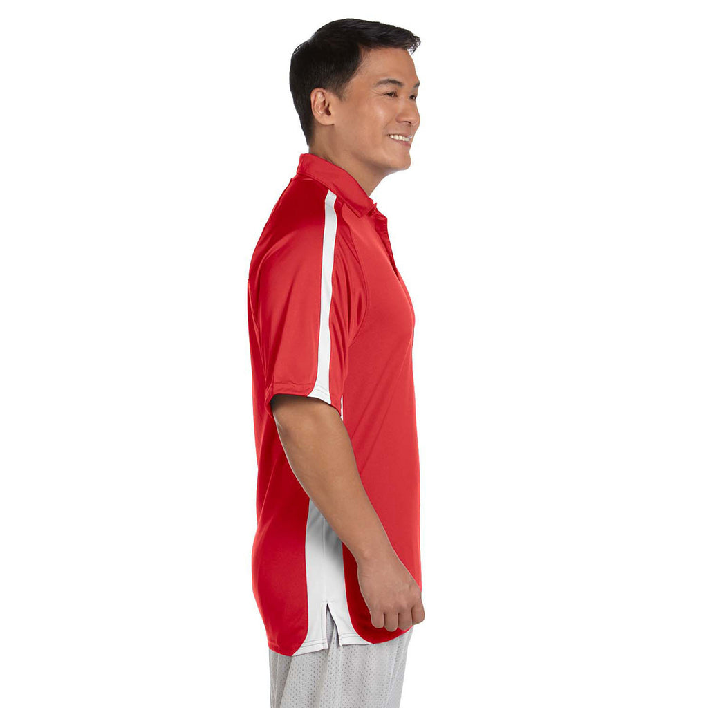 Russell Athletic Men's True Red/White Team Game Day Polo
